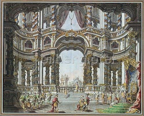 Giuseppe (Galli da) Bibiena: Bühnenbildentwurf zu Pietro Metastasios Didone Abbandonata. Dresden 1742.