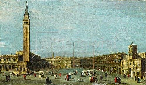 Francesco Guardi: Der Markusplatz in Venedig, Blick nach Westen.