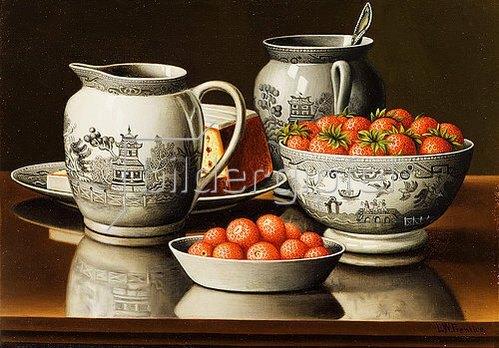 Levi Wells Prentice: Stillleben mit Porzellan und Erdbeeren.