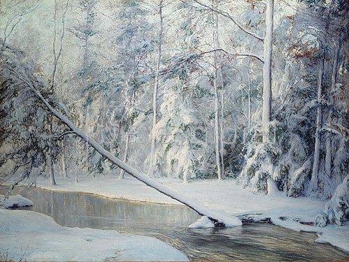 Walter Launt Palmer: Winterlandschaft mit geknicktem Baum.