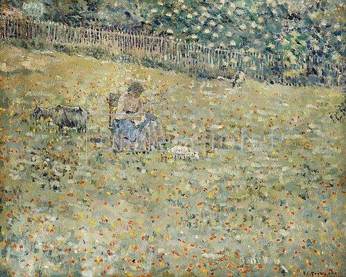 Frederick Karl Frieseke: Frau mit einer Ziege auf einer Blumenwiese.