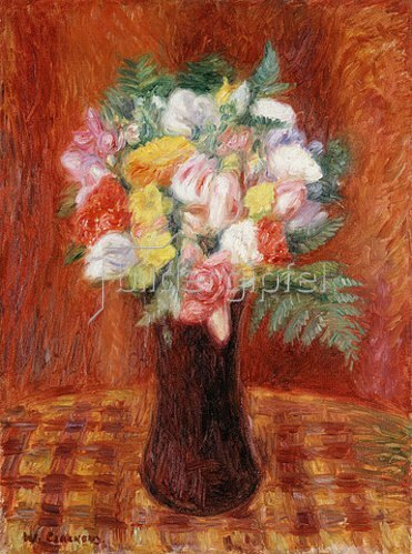 William James Glackens: Blumenstrauß mit rotem Hintergrund.