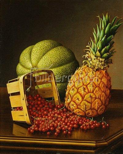 Levi Wells Prentice: Stillleben mit Ananas, Melone und Beeren.