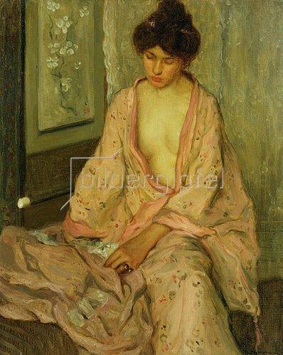 Frederick Karl Frieseke: Der rosafarbige Kimono.