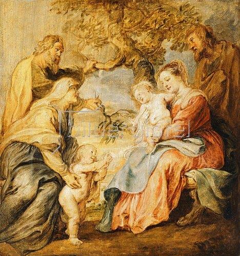 Peter Paul Rubens: Die heilige Familie mit Elisabeth, Zacharias und Johannes dem Täufer.