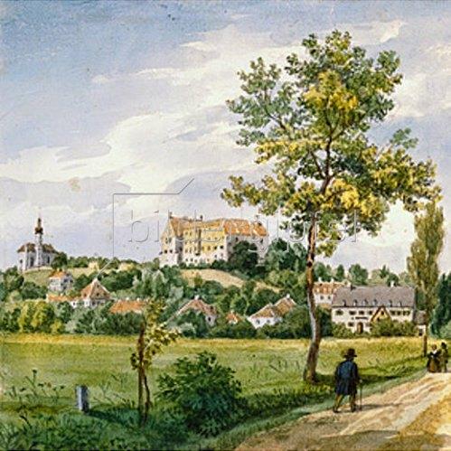 Heinrich Adam: Blick auf Starnberg m.Kirche und Schloß.
