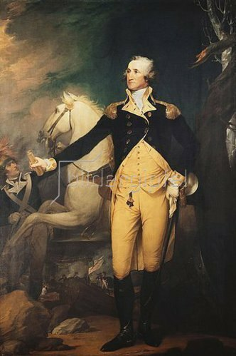 Robert Muller: Portrait of General George Washington (1732-1799) at the Battle of Trenton, full-length, in a military uniform.