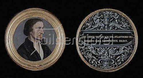 Hans Holbein d.J.: Bildnis des Philipp Melanchthon. Ornament mit Sinnspruch. Ca. 1535.