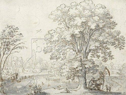 Matthäus Merian d.Ä.: Landschaft mit Erntearbeitern.