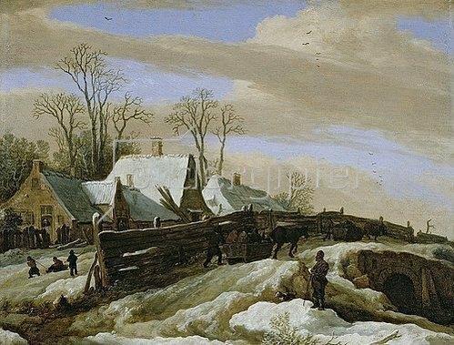 Pieter de Molyn: Winterlandschaft mit Gehöft und Pferdeschlitten.
