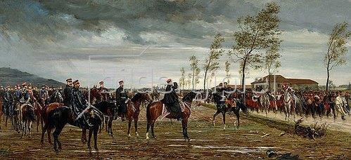 Konrad Freyberg: Übergabe von Metz. 1876 (Das Gemälde zeigt die Kavalleriedivision der französischen kaiserlichen Leibgarde, die nach der Kapitulation der französischen Armee durch Marschall Bazaine am 29.10.1870 hinter Prinz Friedrich Karl von Preußen steht.)
