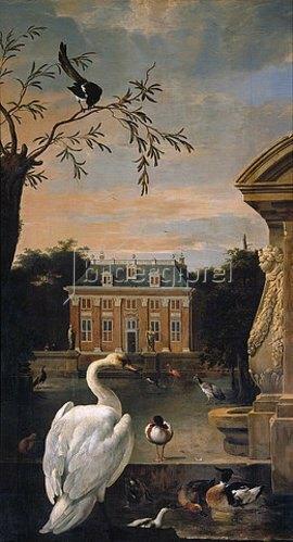 Melchior d' Hondecoeter: Geflügel im Hofe eines Landhauses.