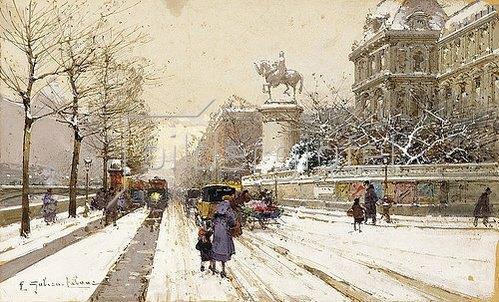 Eugene Galien-Laloue: Paris im Winter.