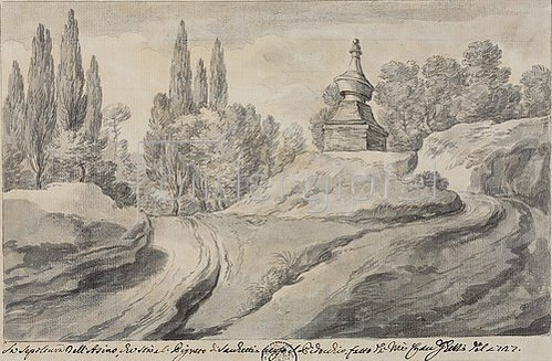 Pier Leone Ghezzi: Das Grab des Esels bei der Villa Pigneto. 1727.