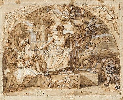 französische Schule: Napoléon siégeant sur un trône avec l'allégorie de la Renommée et l'allégorie de Rome qui tient Napoléon II dans ses bras.