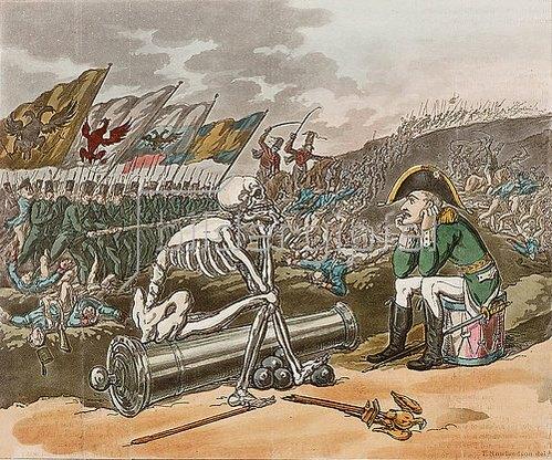 S.W. Fores: Death and Bonaparte. / Der Tod und Bonaparte. Aus einer Reihe von sechs britischen Karikaturen gegen Napoleon. 1811-23.