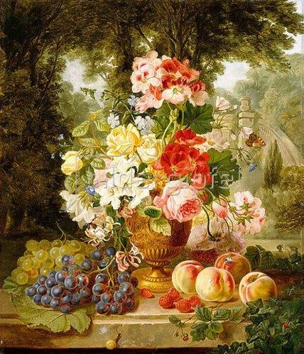 William John Wainwright: Eine Vase mit Sommerblumen und Früchte auf einem Sims vor einer Landschaft. 1867