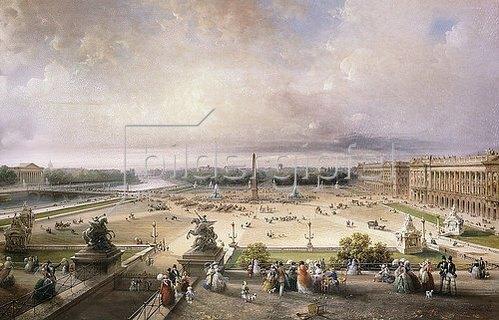 Carlo Bossoli: Place de la Concorde, Paris. 1853