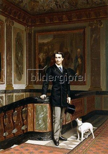 Jean-Léon Gérome: Conte de la Rouchefoucauld Duc de Doudeauville mit seinem Terrier. Um 1870er Jahre
