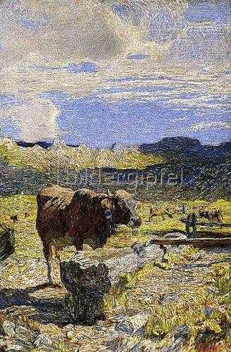 Giovanni Segantini: Brauen Kuh an einer Tränke (Vaca bruna all' Abbeveratoio). 1892