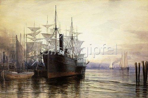 Henry Farrer: Abendlicht im Hafen von New York. 1880