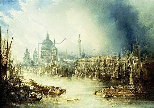 John Gendall: Ansicht von London mit der St. Paul's Kathedrale von der Themse aus.