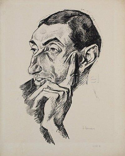 Heinrich Nauen: Portrait Alfred Flechtheim. 1919.