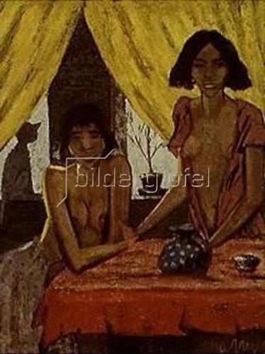 Otto Mueller: Zigeunerinnen mit Katze. 1927.