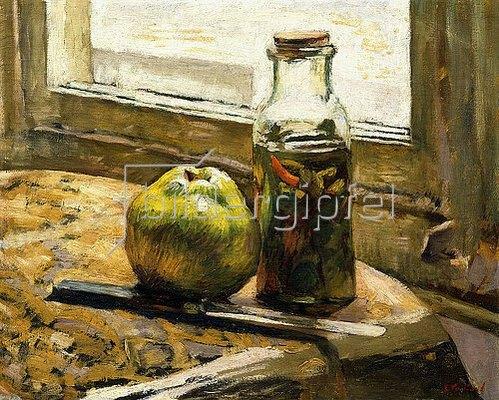 Edouard Vuillard: Weckglas mit Gewürzgurken und ein Apfel (Bocal de Cornichons et Pomme). 1889-90