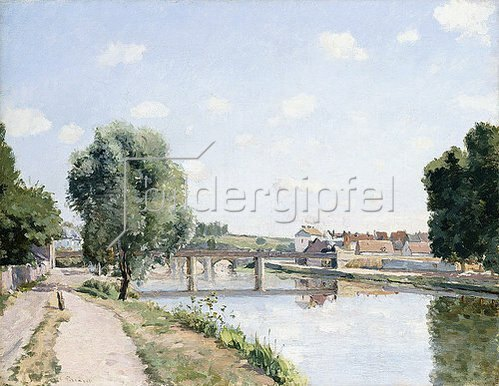 Camille Pissarro: Die Eisenbahnbrücke in Pontoise. Um 1873