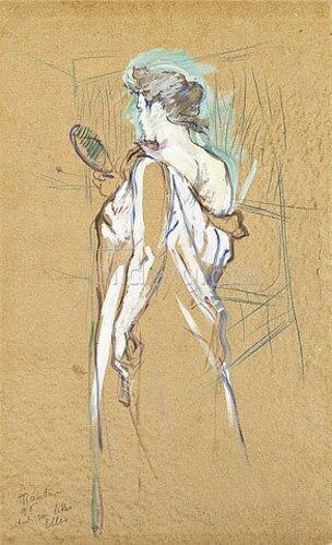 Henri de Toulouse-Lautrec: Den Spiegel in der Hand. Aus der Serie 'Elles' (Elles - La glace à main). 1896