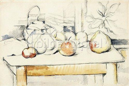 Paul Cézanne: Ingwertopf und Früchte auf einem Tisch (Pot de gingembre et fruits sur une table). 1888-90