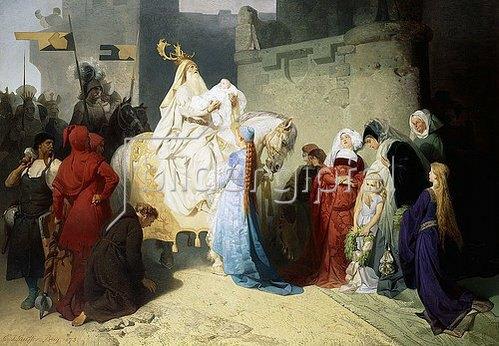 Emil Johann Lauffer: Merlin präsentiert König Arthur die Zukunft. 1873
