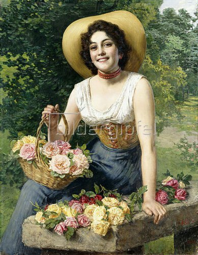 Gaetano Bellei: Eine schöne junge Frau mit einem Korb mit Rosen.