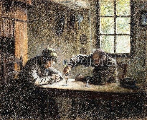 Leon Augustin Lhermitte: Altes Ehepaar beim Trinken von Eau de vie.