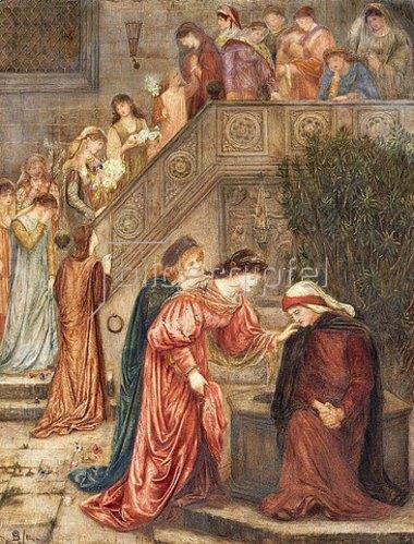 Marie Stillman: 'Einige Damen aus ihrer Bekanntschaft besuchten Beatrice, als sie sich in ihrer Trauer zurückgezogen hatte, und als sie kamen und gingen, hörte ich sie über sie reden' (Dante in Vita Nuova). 1880