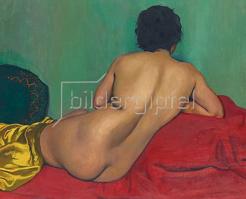 Felix Vallotton: Rückenakt auf einem roten Kanapee. 1925