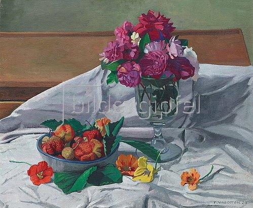 Felix Vallotton: Stillleben mit Blumen und Erdbeeren. 1920