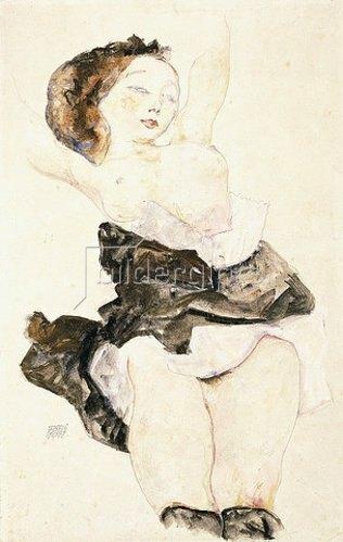 Egon Schiele: Liegendes junges Mädchen, Halbakt. 1912