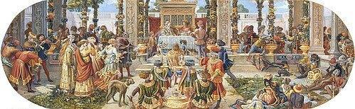 Riccardo Meacci: Ein florentinisches Fest: das Festmahl (aus einer Folge von 6 Werken, siehe auch Bildnummern 42741,42743-42746).