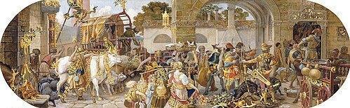 Riccardo Meacci: Ein florentinisches Fest: Ankunft der Vorräte (aus einer Folge von 6 Werken, siehe auch Bildnummern 42741-42743,42745+42746).
