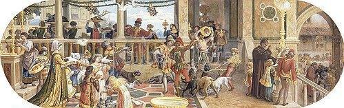 Riccardo Meacci: Ein florentinisches Fest: Verfüttern der Reste an die Tiere und ein Tisch für die Armen (aus einer Folge von 6 Werken, siehe auch Bildnummern 42741-42744+42746).