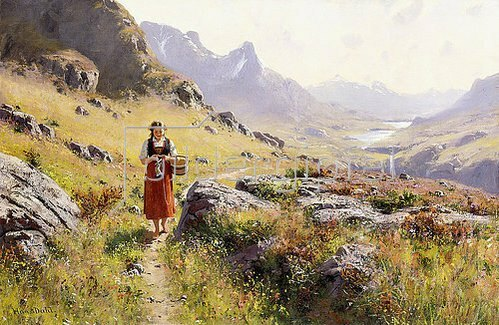 Hans Dahl: Strickendes Mädchen in einer Norwegischen Landschaft.