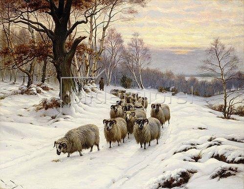 Wright Barker: Ein Schäfer mit seiner Herde auf einem Weg im Winter.