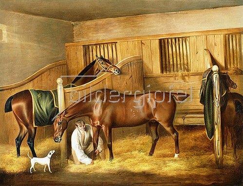 Thomas Weaver: Pferde in einem Stall mit einem Pferdeknecht. 1809