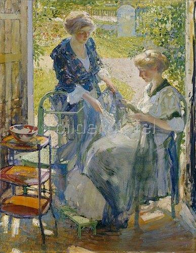 Richard Edward Miller: Das Gartenzimmer, Giverny. Um 1910-11 (Das Gemälde zeigt wohl das Haus von Millers Freund und Malerkollegen Frederick Carl Frieseke. Die sitzende Frau ist wahrscheinlich die Frau des Künstlers, Billee.)