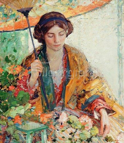 Richard Edward Miller: Frau mit Sonnenschirm.
