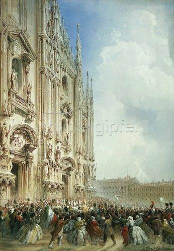 Carlo Bossoli: Die Ankunft Kaiser Napoleon III und des Königs von Sardinien  am Dom von Mailand. 1859