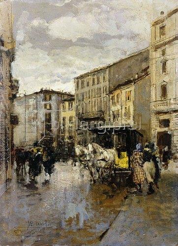 Mose Bianchi: Eine Straßenszene, Mailand.