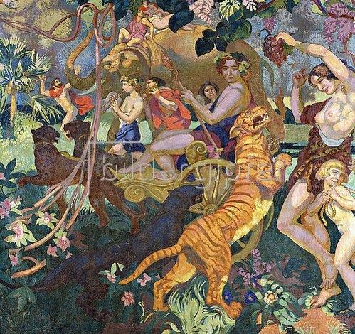 Maurice Denis: Die Bacchanale mit dem Königstiger (Le Bacchanale du Tigre Royal) (Linkes Teilstück einer Ziertafel für den Pelzladen 'Le Tigre Royal' in Genf).